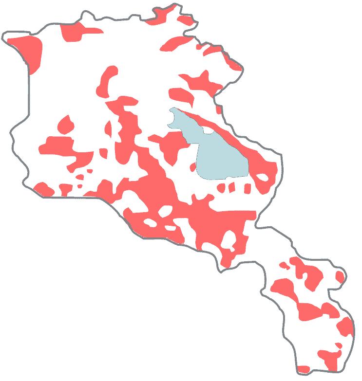 پراکنش جمعیتی ترک های ارمنستان به سال ۱۸۹۶-۱۸۹۰